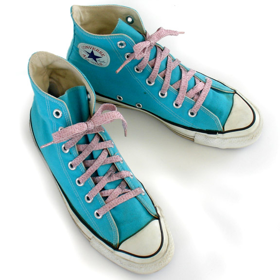 720083b96ccb Vintage American-made Converse All Star Chuck Taylor turquoise shoes for  sale at http  Vintage Converse turquoise hi-tops ...