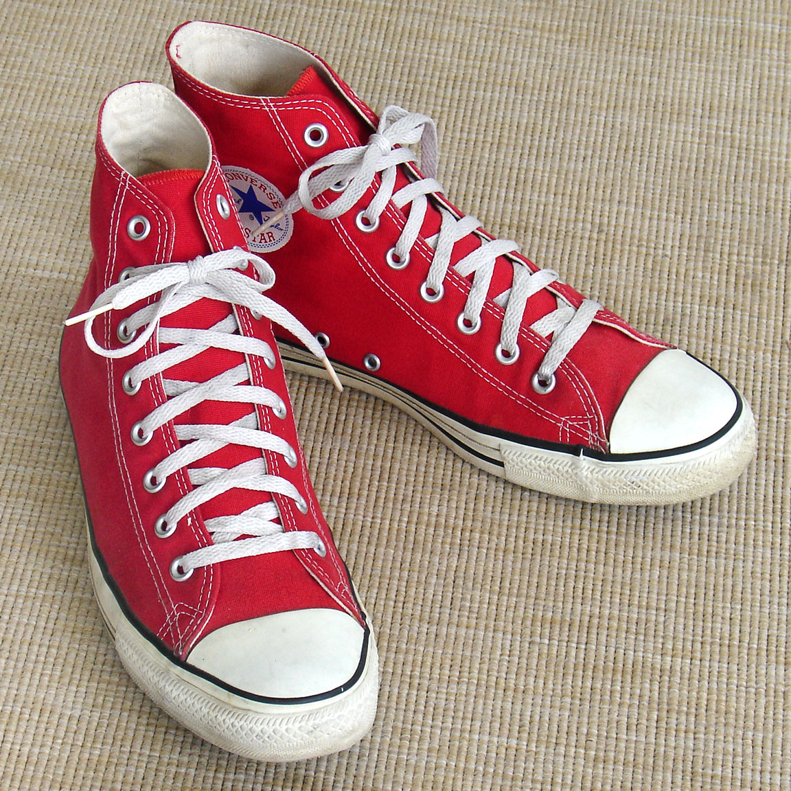 95c5f3439ce8 Vintage red hi-top American-made Converse All Star Chuck Taylor shoes for  sale