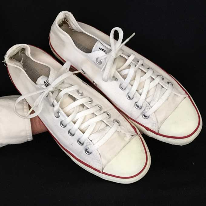 83666e7208c3 Vintage American-made Converse All Star Chuck Taylor shoes in classic white  for sale at