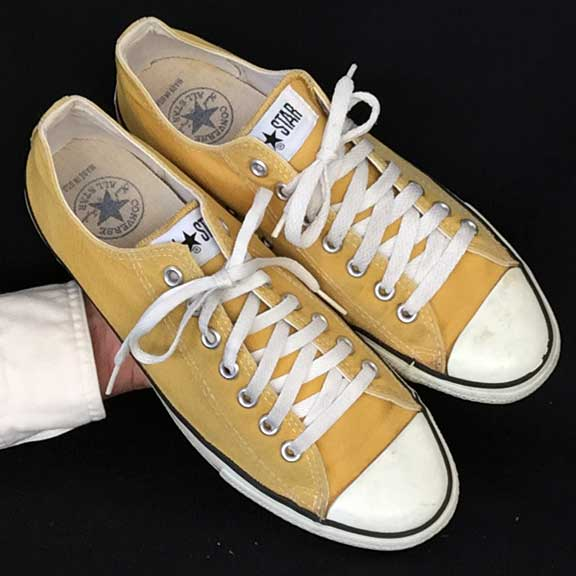 d9e9a83c3bc3 Vintage American-made Converse All Star Chuck Taylor shoes in a great gold  color for