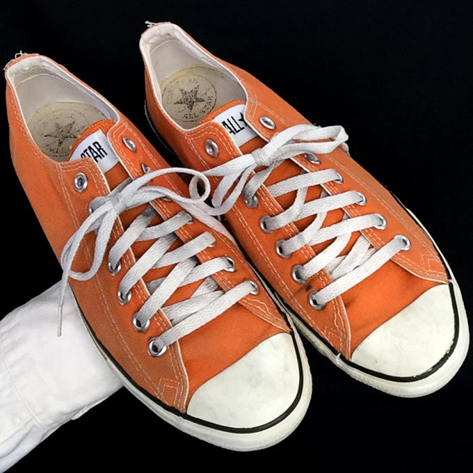 b43901036b1c Vintage orange American-made Converse All Star Chuck Taylor shoes for sale  at http