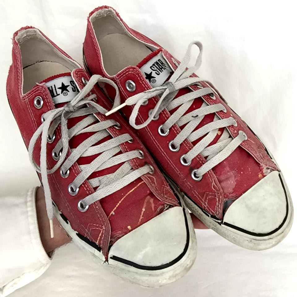597f664d74b3 Vintage American-made Converse All Star Chuck Taylor worn out red shoes for  sale at